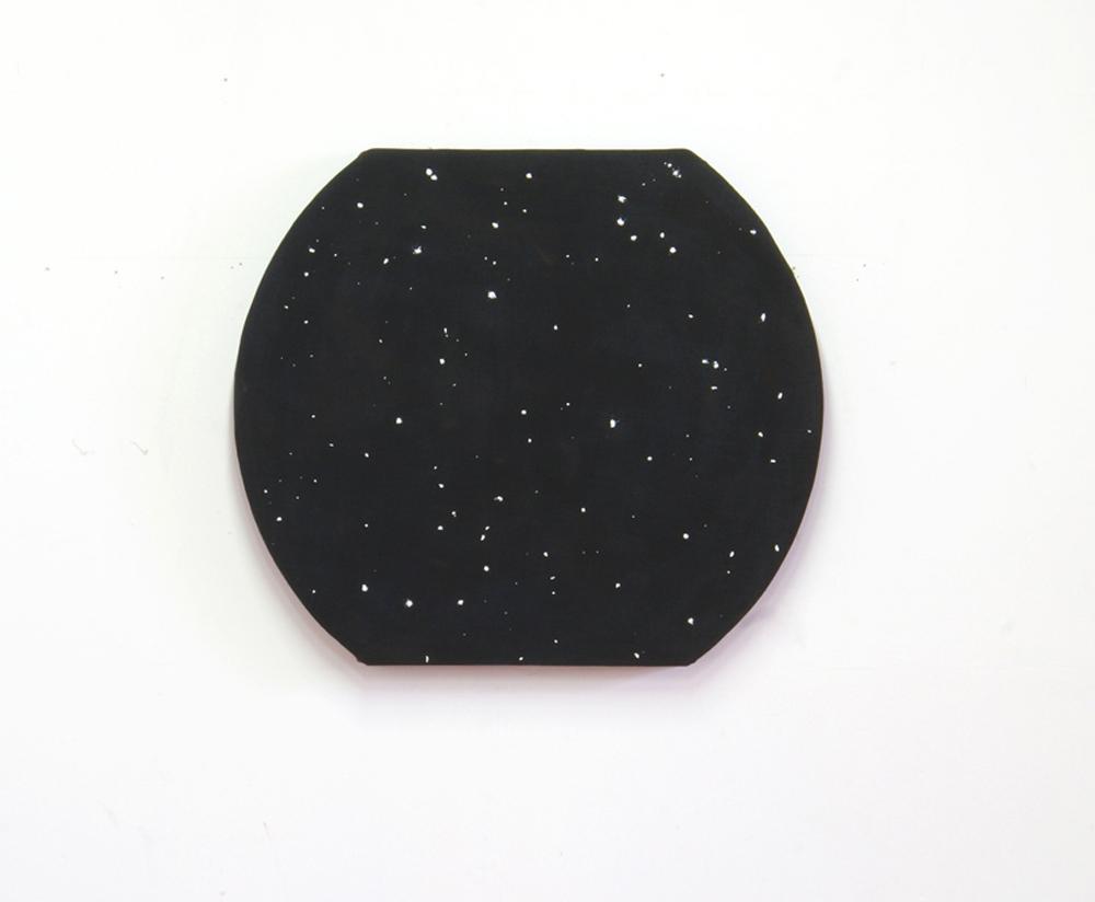 Davide Mancini Zanchi, Costellazione, 2019, palline di carta e saliva su tela foderata su telaio sagomato, cm 72x85