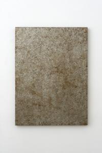 Luigi Mainolfi, Paesaggi, 1994, lamelle di ferro e ruggine su legno, cm 95x69
