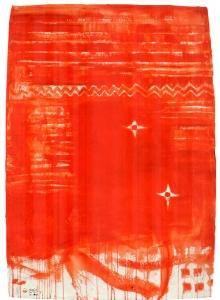 Pizzi Cannella, Rosso ceramica, 2011, tecnica mista su carta, cm 130x90