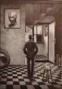 Giuseppe Stampone, Autoritratto, 2020, penna bic su carta, cm 32x23