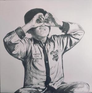 Giuseppe Stampone, Il ragazzo che guardava le stelle, 2020, grafite su tela, cm 80x80