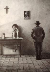 Giuseppe Stampone, Le tre Grazie, 2020, penna bic su carta, cm 32x23