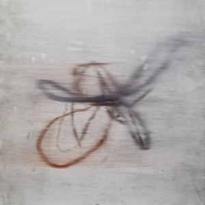 Luca Caccioni, Ibisco e dita (burle marx garden), 2020, olio e resine su alluminio, cm 80x80