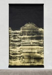 Open Eye - Il Risveglio, 2021, polvere di bronzo emulsionata su carta nera, cm 280x150