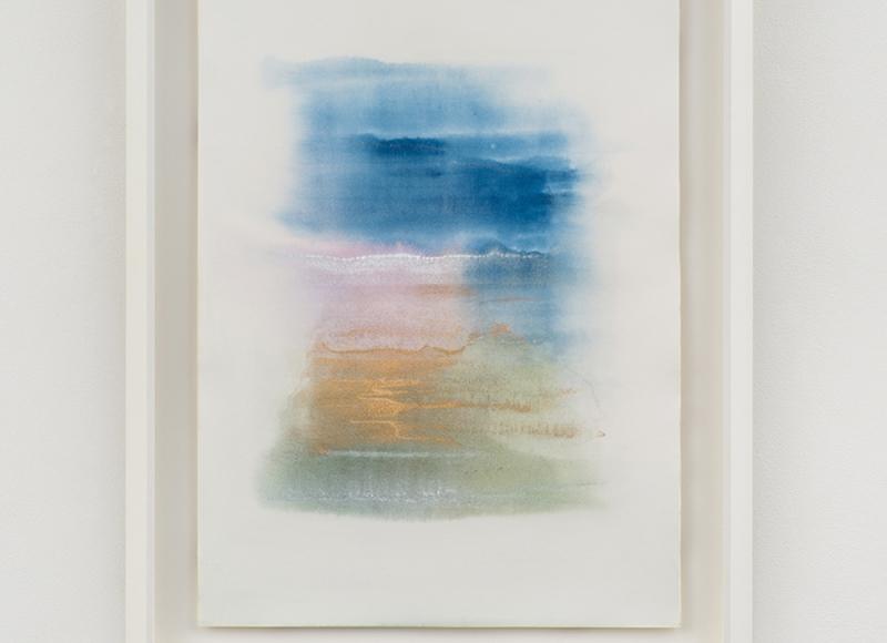 Raccolto - Gathered, 2021, tempera mista e polvere di bronzo su carta, cm 70x50